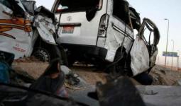 الحادث وقع جراء انقلاب حافلة نقل ركاب على الطريق