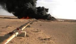 حريق عبارات نفط بقصف في دير الزور.