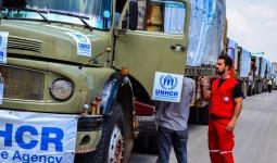 شحنة مساعدات أممية خلال دخولها الأراضي السورية مؤخراً