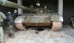 دبابة اغتنمها الثوار بريف إدلب.