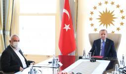 أردوغان خلال لقائه هنية في إسطنبول