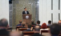 بشار الأسد في قصر الشعب.