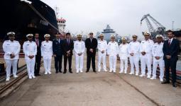 جانب من تدشين سفينة مصنعة تركية لصالح البحرية القطرية