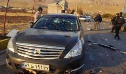 إحدى سيارات موكب العالم الإيراني فخري زاده التي تعرضت لإطلاق نار
