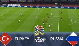 جانب من لقاء تركيا وروسيا في دوري أمم أوروبا