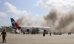 مطار عدن لحظة حدوث الانفجارات