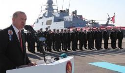 أردوغان خلال تدشين فرقاطة عسكرية جديدة محلية الصنع