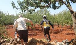 الدفاع المدني في مقبرة في بلدة آفس شرق إدلب