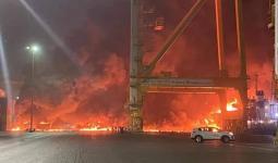 حريق في جبل ميناء علي
