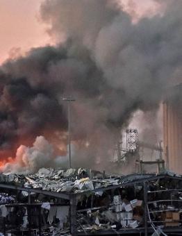 آثار الانفجار في العاصمة بيروت