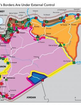 خريطة لتوزع السيطرة على الحدودو السورية