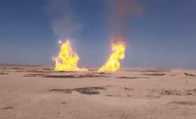 انفجار خط الغاز بمنطقة الجحيف على طريق أبو خشب بريف ديرالزور الغربي