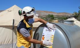 أعمال الدفاع المدني للوقاية من فيروس كورونا في الشمال السوري