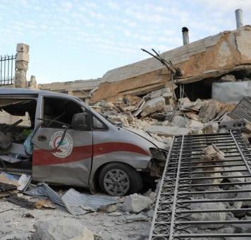 أحد المشافي المدمرة في إدلب.