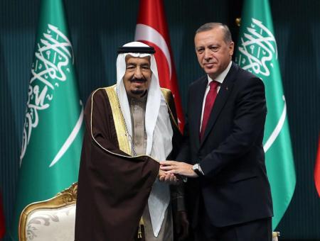 الملك سلمان بن عبد العزيز مع الرئيس التركي رجب طيب أردوغان