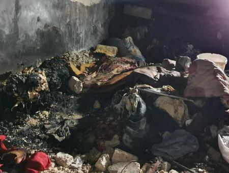 حريق في مخيم نبع الأمل شمالي إدلب