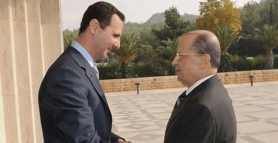 بشار الأسد خلال لقاء بالرئيس اللبناني ميشيل عون