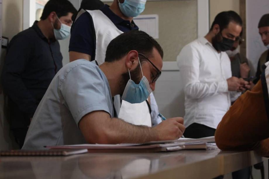 أجراءات اللقاح ضد كورونا في مدينة الباب شرق حلب