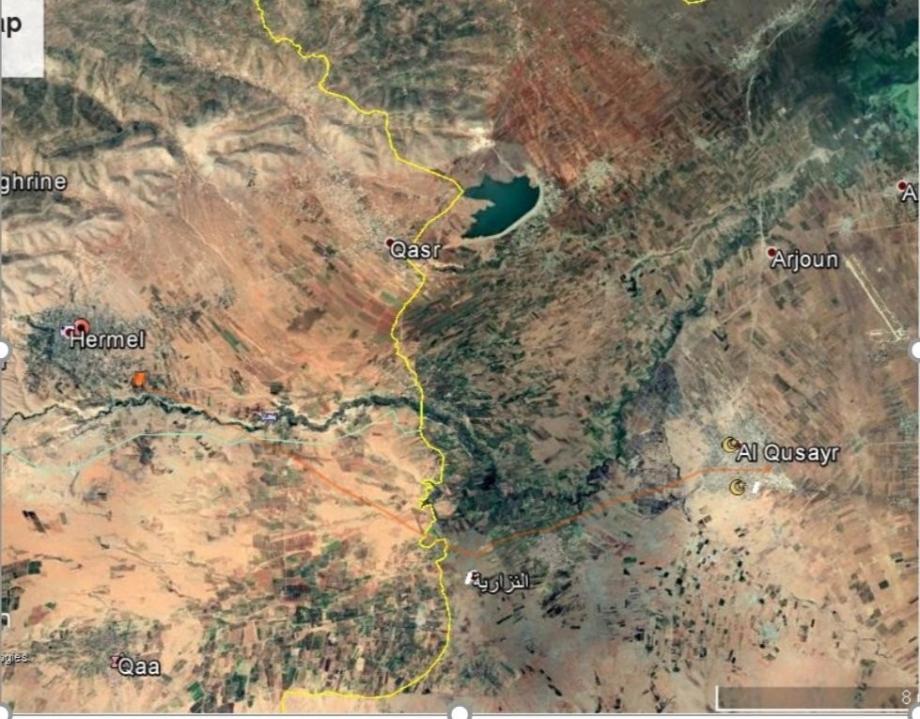 خريطة معابر التهريب بين لبنان وسوريا