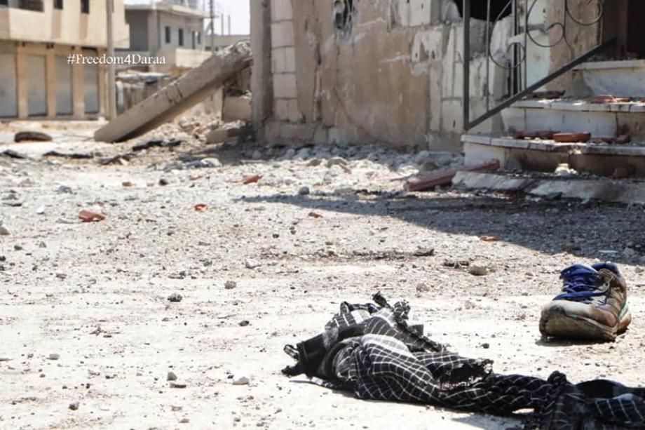 آثار الدمار في درعا البلد